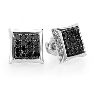 Sterling Silver 3/4ct TDW Black Diamond Stud Earrings
