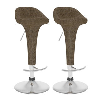 CorLiving Brown Round Woven Vinyl Adjustable Bar Stool Set (Set of 2)