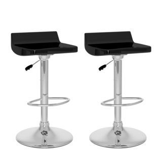 CorLiving Black Gloss Low Back Adjustable Bar Stool Set (Set of 2)