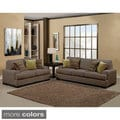 Furniture of America Shielliam 2-piece Contemporary Micro Denier Fabric Sofa and Loveseat Set
