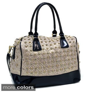 Isabelle Rhinestone Studded Quilted Satchel Bag