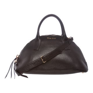 Miu Miu 'Bugatti' Black Textured Leather Dome Satchel
