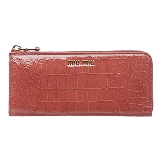 Miu Miu 'Craquele' Dark Pink Croco-embossed Calf Leather Wallet