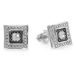Sterling Silver Diamond Accent Black and White Stud Earrings