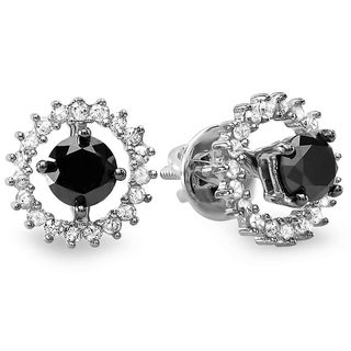 Sterling Silver 1ct TDW Black and White Diamond Stud Earrings with Removable Jackets (I-J, I2-I3)