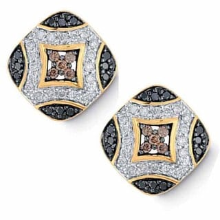 14k Yellow Gold 3/4ct TDW Multi-color Diamond Stud Earrings