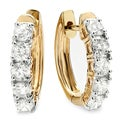 14k Yellow Gold 1ct TDW Round White Diamond Hoop Earrings (H-I, I1-I2)