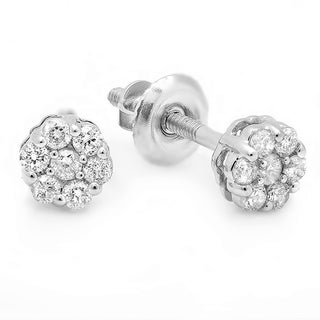 14k White Gold 1/5ct TDW Round White Diamond Cluster Flower Stud Earrings (I-J, I2-I3)
