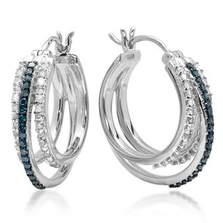 Sterling Silver Round 3/4ct TDW Blue and White Diamond Multi Row Hoop Earrings (I-J, I2-I3)