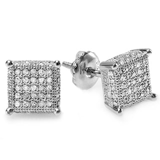 Platinum Plated Silver 1/2ct TDW Diamond Dice Shape Men's Hip Hop Iced Stud Earrings (I-J,I2-I3)