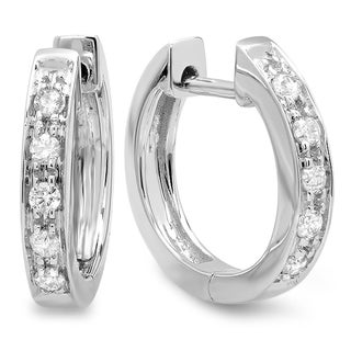 10k White Gold 1/6ct TDW Round White Diamond Hoop Earrings (I-J, I2-I3)