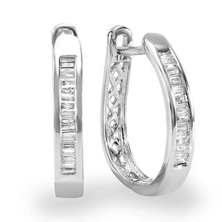 10K White Gold 1/5ct TDW Baguette Cut Diamond Hoop Earrings (I-J, I2-I3)