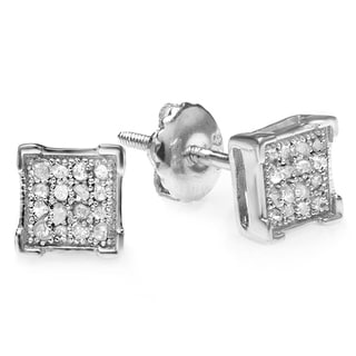 Platinum Plated Silver Diamond Accent Square Men's Hip Hop Iced Stud Earrings
