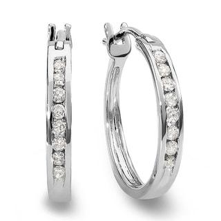 10K White Gold 1/5ct TDW Round Channel Set White Diamond Hoop Earrings (I-J, I2-I3)