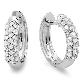 10k White Gold 1/3ct TDW Round Diamond Pave Diamond endless Hoop Earrings (I-J, I2-I3)