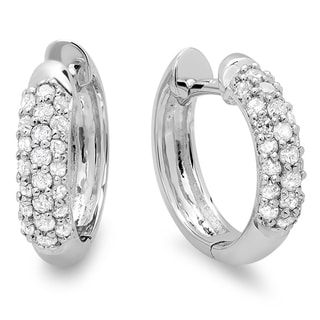 10k White Gold 1/3ct TDW Round Diamond Pave Diamond Huggie Hoop Earrings (I-J, I2-I3)