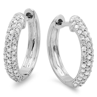 10k White Gold 1/2ct TDW Round Diamond Pave Diamond Huggie Hoop Earrings (I-J, I2-I3)
