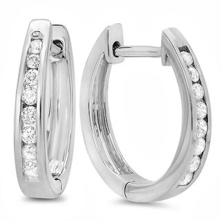 10K White Gold 1/5ct TDW Round Channel Set Diamond Hoop Earrings (I-J, I2-I3)