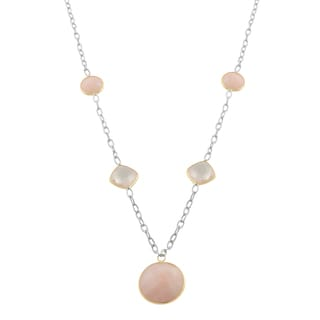 Fremada Sterling Silver and 14 Karat Gold Opal and Rose Quartz Drop Necklace (18 inch)