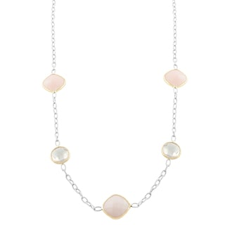 Fremada Sterling Silver and 14k Gold Opal and Rose Quartz Station Necklace (18 inch)