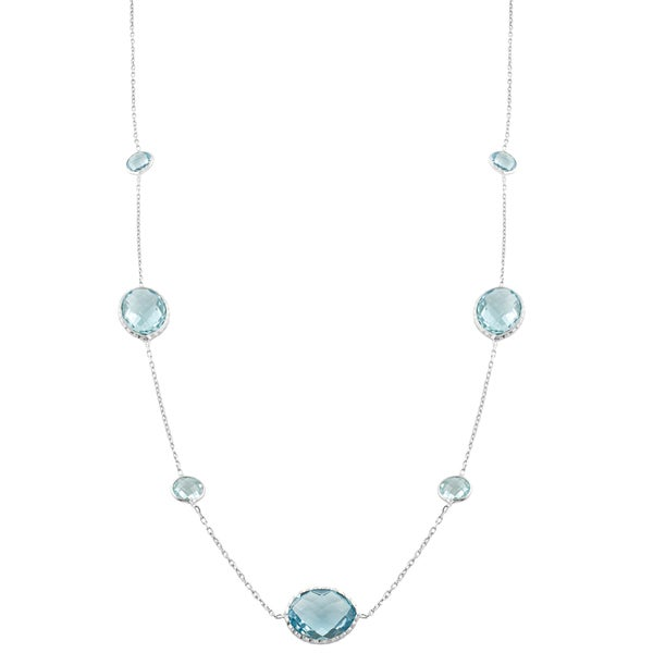 Fremada Sterling Silver Alternate Round and Oval Blue Topaz Station Necklace (18 inch)