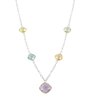 Fremada Sterling Silver and 14 Karat Gold Square Multiple Gemstones Drop Station Necklace (18 inch)