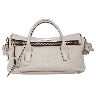 Miu Miu Ivory Textured Leather Satchel