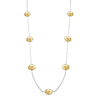 Fremada Sterling Silver Round Citrine Station Necklace (18 inch)