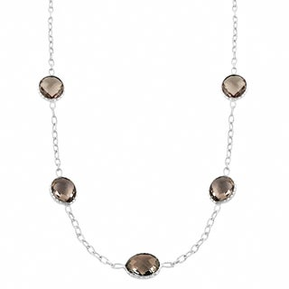 Fremada Sterling Silver Oval Smokey Quartz Station Necklace (18 inch)