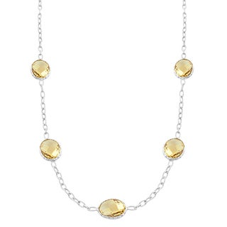 Fremada Sterling Silver Oval Citrine Station Necklace (18 inch)
