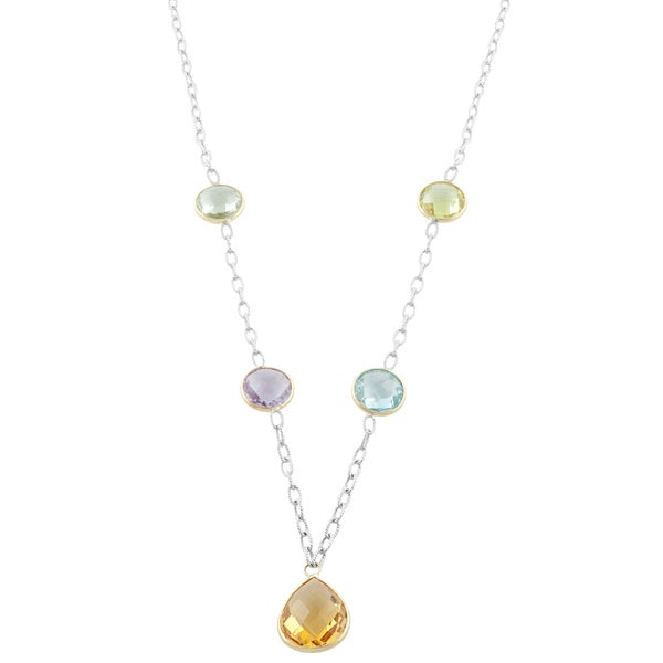 Fremada Sterling Silver and 14k Gold Multiple Gemstones Drop Station Necklace (18 inch)