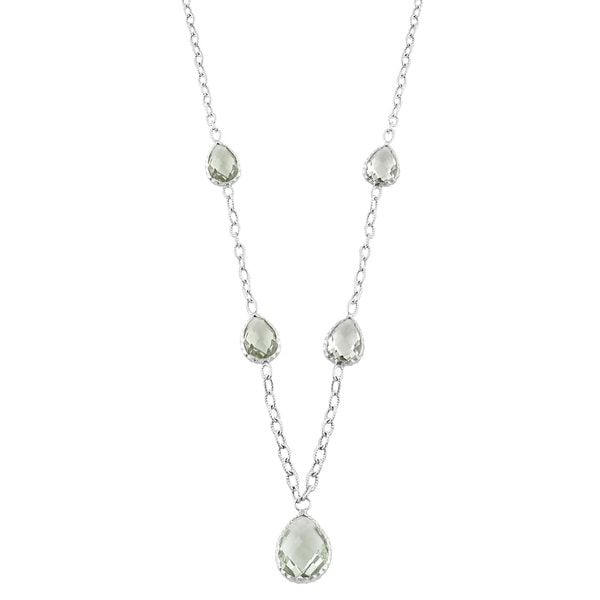 Fremada Sterling Silver Pear-shaped Green Amethyst Necklace