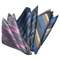 Dmitry Men's Navy Patterened Italian Silk Pocket Squares (Pack of 3)