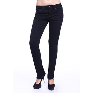 Stitch's Women's Slim Fit Black Denim Straight Jeans
