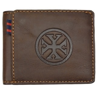 YL Men's Brown Leather Bi-fold Wallet