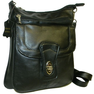 Hollywood Tag Black Leather Crossbody Bag