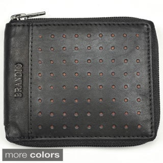 Brandio Men's Bi-fold Perforated Leather Wallet