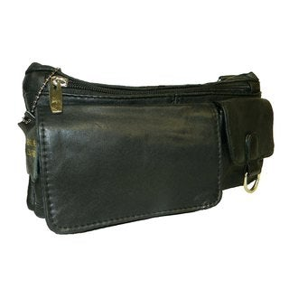 Hollywood Tag Black Leather Motorcycle/ Side Bag