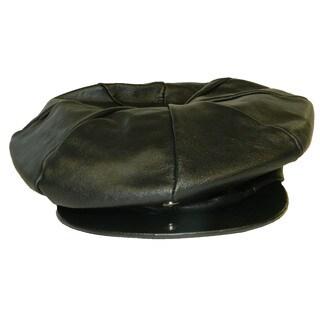 Hollywood Tag Black Leather Newsboy Cap