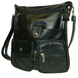Hollywood Tag Black Leather Side Bag