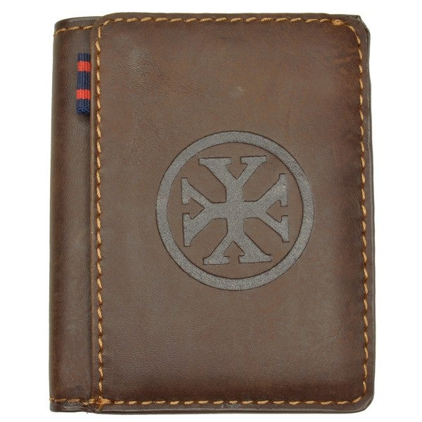 YL Men's Brown Leather Embossed Bi-fold Wallet