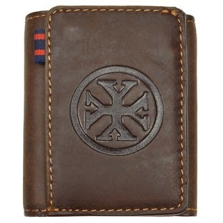 YL Men's Brown Embossed Leather Tri-fold Wallet