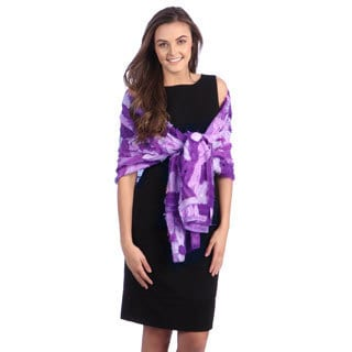 Selection Privee Paris Women's Purple Lilac Patchwork Dressy Silk Shawl Wrap