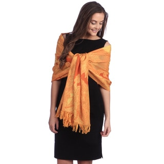 Selection Privee Paris Women's Emilie Orange Paisley Wool Shawl