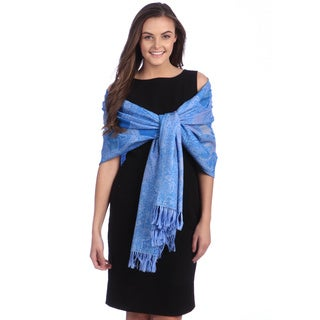 Selection Privee Paris Women's Emilie Blue Paisley Wool Wrap