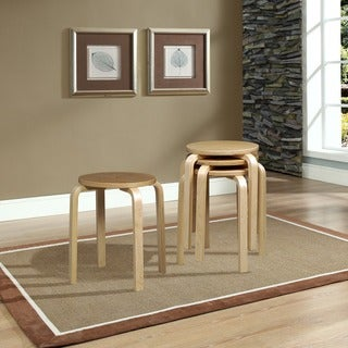 Linon 17-inch Natural Bentwood Stool (Set of 4)