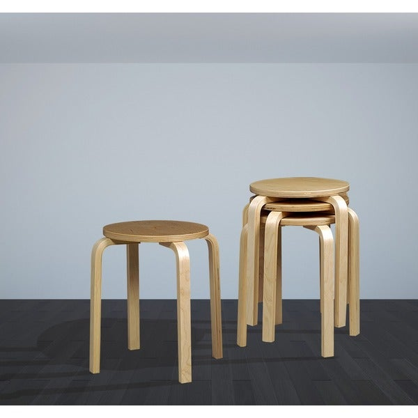 Oh Home 17 Inch Natural Bentwood Stool Set Of 4