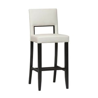 Linon Vega White Leatherette and Wood 30-inch Bar Stool