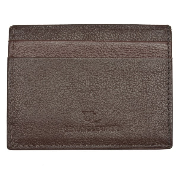 Men's Brown Leather Embossed Money Clip Wallet