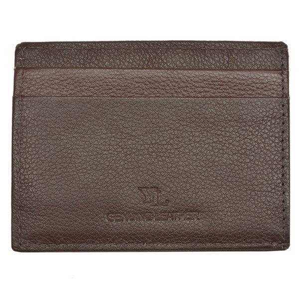 Men's Brown Leather Embossed Money Clip Wallet
